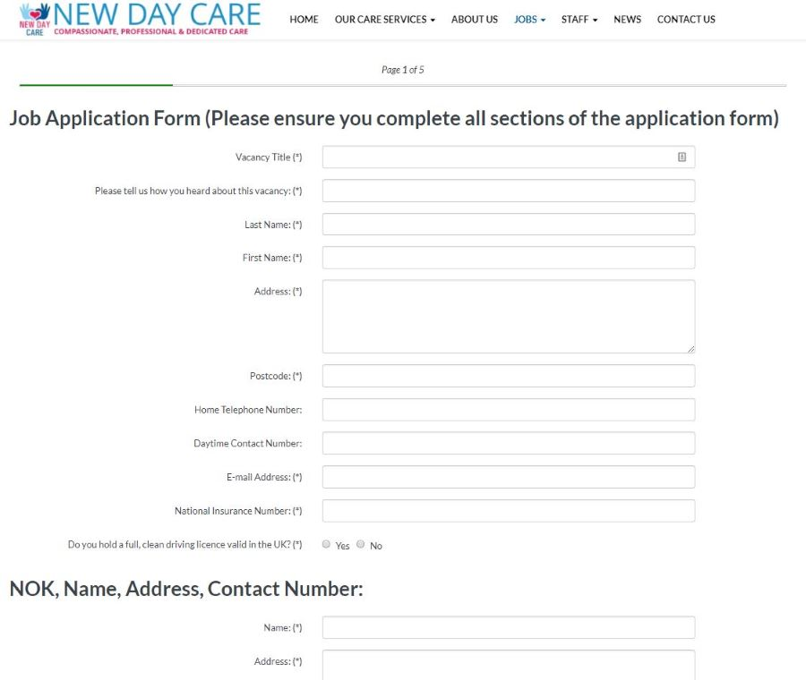 Bespoke multi-page forms for your website design